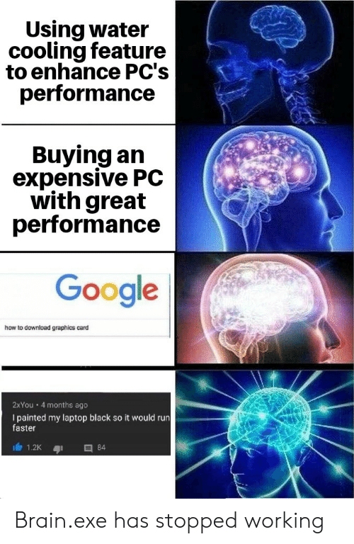 Google, Run, and Black: Using water  cooling feature  to enhance PC's  performance  Buying an  expensive PC  with great  performance  Google  how to download graphics card  2XYou 4 months ago  I painted my laptop black so it would run  faster  84  1.2K Brain.exe has stopped working