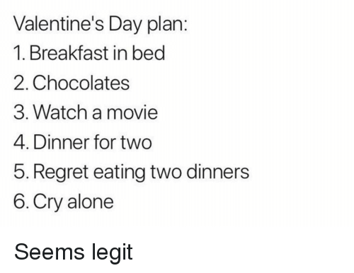Being Alone, Memes, and Regret: Valentine's Day plan:  1. Breakfast in becd  2. Chocolates  3. Watch a movie  4. Dinner for two  5. Regret eating two dinners  6. Cry alone Seems legit