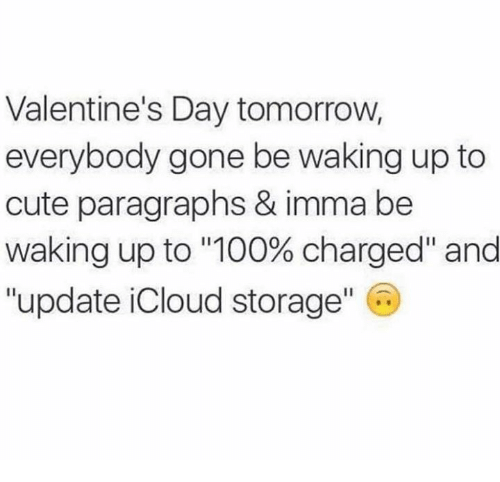 "Paragraphs: Valentine's Day tomorrow,  everybody gone be waking up to  cute paragraphs & imma be  Waking up to ""100% charged"" and  ""update iCloud storage"" C"