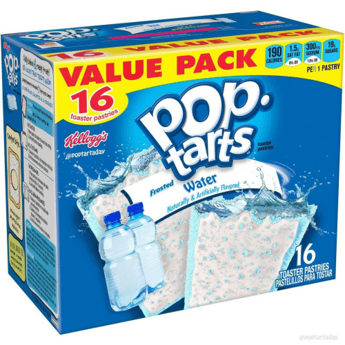 pas: VALUE PACK ,,  16  mg  SAT FAT SODIUM SUGARS  840 DV  1396 DV  op.  PER 1 PASTRY  toaster pas  pastries  @poptartaday  toaster  pastries  Water  Naturally &Artificially Flavored a  Froste  16  TOASTER PASTRIES  PASTELILLOS PARA TOSTAR  @poptarfaday