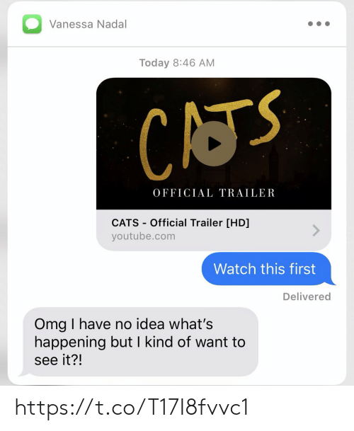 Cats, Memes, and Omg: Vanessa Nadal  Today 8:46 AM  CATS  OFFICIAL TRAILER  CATS-Official Trailer [HD]  youtube.com  Watch this first  Delivered  Omg I have no idea what's  happening but I kind of want to  see it?! https://t.co/T17I8fvvc1