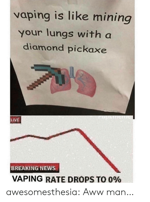 Drops: vaping is like mining  your lungs with a  diamond pickaxe  phe  LIVE  BREAKING NEWS  VAPING RATE DROPS TO 0% awesomesthesia:  Aww man…
