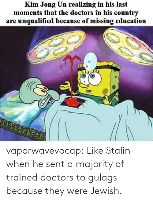 doctors: vaporwavevocap:  Like Stalin when he sent a majority of trained doctors to gulags because they were Jewish.