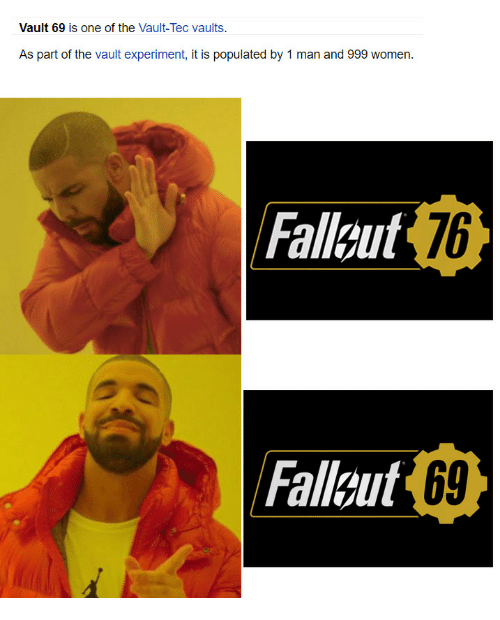 Women, Vault, and The Vault: Vault 69 is one of the Vault-Tec vaults.  As part of the vault experiment, it is populated by 1 man and 999 women.  Fallaut  176  Falleut 69