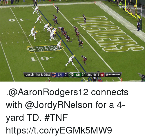 Memes, 🤖, and Yard: VE ORK  ST  CBSO 1ST & GOALCHI 7  GB 21 3RD 4:13 19NETwon  IK .@AaronRodgers12 connects with @JordyRNelson for a 4-yard TD. #TNF https://t.co/ryEGMk5MW9