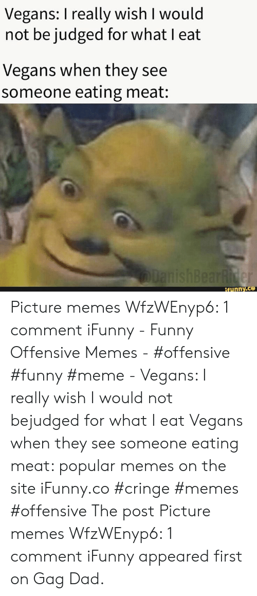 cringe: Vegans: I really wish I would  not be judged for what I eat  Vegans when they see  someone eating meat:  lanishBearRider  if ynny.co Picture memes WfzWEnyp6: 1 comment iFunny - Funny Offensive Memes - #offensive #funny #meme - Vegans: I really wish I would not bejudged for what I eat Vegans when they see someone eating meat: popular memes on the site iFunny.co #cringe #memes #offensive The post Picture memes WfzWEnyp6: 1 comment iFunny appeared first on Gag Dad.