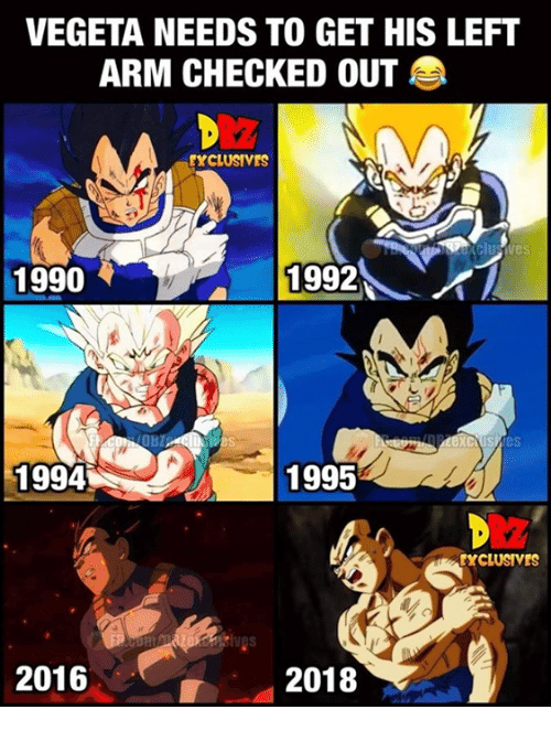 Checked Out: VEGETA NEEDS TO GET HIS LEFT  ARM CHECKED OUT  EXCLUSIVES  1990  1992にイ  1994  1995  EXCLUSIVES  2016  2018