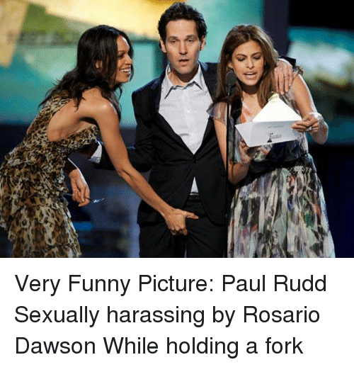 Rosario: Very Funny Picture: Paul Rudd Sexually harassing by Rosario Dawson While holding a fork