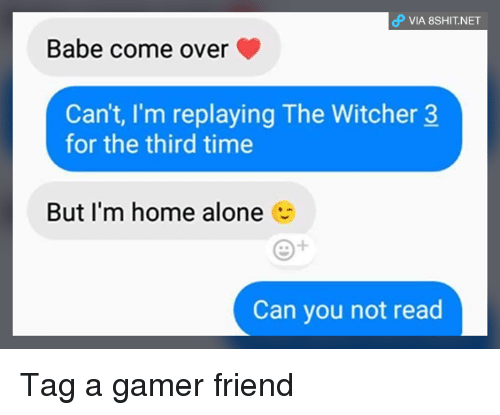 Being Alone, Come Over, and Home Alone: VIA 8SHIT.NET  Babe come over  Can't, I'm replaying The Witcher 3  for the third time  But I'm home alone  Can you not read Tag a gamer friend