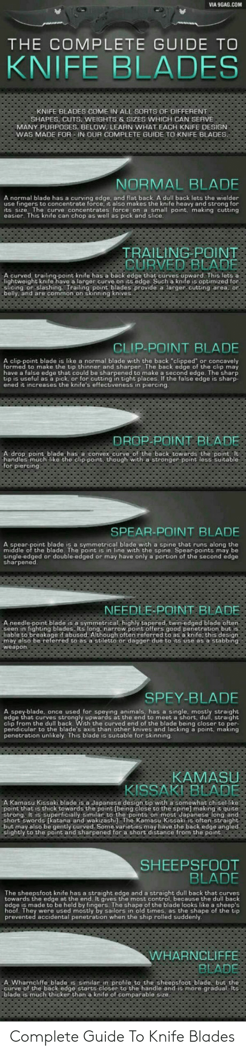 "9gag, Animals, and Blade: VIA 9GAG.COM  THE COMPLETE GUIDE TO  KNIFE BLADES  KNIFE BLADES COME IN ALL SORTS OF OIFFERENT  SHAPES, CUTS, WEIGHTS &SIZES WHICH CAN SERVE  MANY PURPOSES, BELOW, LEARN WHAT EACH KNIFE DESIGN  WAS MADE FOR -IN OUR COMPLETE GUIDE TO KNIFE BLADES.  NORMAL BLADE  A normal blade has a curving edge, and flat back A dull back lets the wielder  use fingers to concentrate force, it also makes the knife heavy and strong for  its size The curve concentrates force on a small point, making cutting  easier. This knife can chop as well as pick and slice.  TRAILING POINT  CURVED BLADE  A curved, trailing-point knife has a back edge that curves upward This lets a  lightweight knife have a larger curve on its edge Such a knife is optimized for  slicing or slashing Trailing point blades provide a larger cutting area, or  belly and are common on skinning knives  CLIP-POINT BLADE  A clip-point blade is like a normal blade with the back ""clipped"" or concavely  formed to make the tip thinner and sharper. The back edge of  have a false edge that could be sharpened to make a second edge. The sharp  tip is useful as a pick, or for cutting in tight places. If the false edge is sharp-  ened it increases the knife's effectiveness in piercing  clip may  the  DROP POINT BLADE  A drop point blade has a convex.curve of the back towards the point It  handles much like the clip-point, though with a stronger point less suitable  for piercing  SPEAR-POINT BLADE  A spear-point blade is a symmetrical blade with a spine that runs along the  middle of the blade. The point is in line with the spine. Spear-points may be  single-edged or double-edged or may have only a portion of the second edge  sharpened  NEEDLE-POINT BLADE  A needle-point blade is a symmetrical,highly tapered, twin-edged blade often  seen in fighting blades Its long. narrow point offers good penetration but is  liable to breakage if abused. Although often referred to as a knife, this design  may also be referred to as a stiletto or dagger due to its use as a stabbing  weapon.  SPEY-BLADE  A spey-blade, once used for speying animals, has a single. mu straight  edge that curves strongly upwards at the end to meet a short,  clip from the dull back. With the curved end of the blade being closer to per-  pendicular to the blade's axis than other knives and lacking a point, making  penetration unlikely. This blade is suitable for skinning  straight  KAMASU  KISSAKI BLADE  A Kamasu Kissaki blade is a Japanese design tip with a somewhat chisel-like  point that is thick towards the point (being close to the spine) making it quite  strong. It is superficially similar to the points on most Japanese long and  short swords (katana and wakizashi) The Kamasu Kissaki is often straight  but may also be gently curved Some varieties may have the back edge angled  slightly to the point and sharpened for a short distance from the point  SHEEPSFOOT  BLADE  The sheepsfoot knife has a straight edge and a straight dull back that curves  towards the edge at the end. It gives the most control, because the dull back  edge is made to be held by fingers. The shape of the blade looks like a sheep's  hoof. They were used mostly by sailors in old times, as the shape of the tip  prevented accidental penetration when the ship rolled suddenly  WHARNCLIFFE  BLADE  A. Wharncliffe blade is similar.in profile to the sheepsfoot blade, but the  curve of the back edge starts closer to the handle and is more gradual Its  blade is much thicker than a knife of comparable size Complete Guide To Knife Blades"