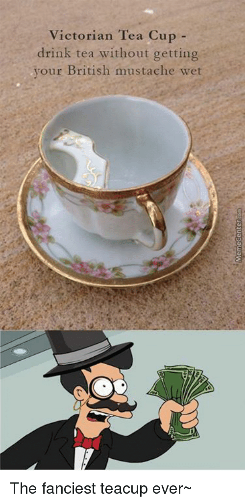 Memes, 🤖, and Tea: Victorian Tea Cup  drink tea without getting  your British mustache wet The fanciest teacup ever~