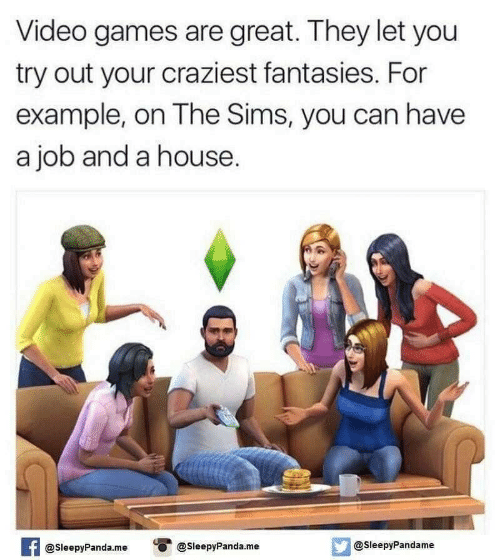 The Sims, Video Games, and Games: Video games are great. They let you  try out your craziest fantasies. For  example, on The Sims, you can have  a job and a house.  @SleepyPandame  @SleepyPanda.me  @SleepyPanda.me  AT