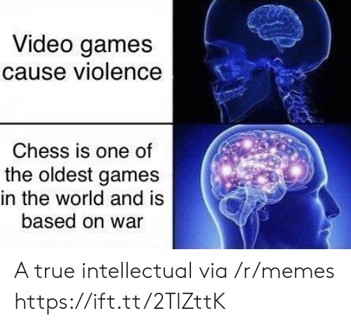 The Oldest: Video games  cause violence  Chess is one of  the oldest games  in the world and is  based on war A true intellectual via /r/memes https://ift.tt/2TlZttK
