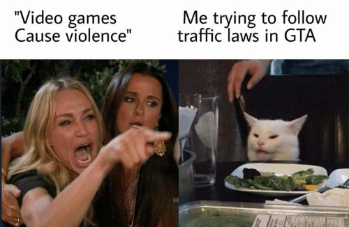 """Memes, Traffic, and Video Games: """"Video games  Cause violence""""  Me trying to follow  traffic laws in GTA  J0y"""