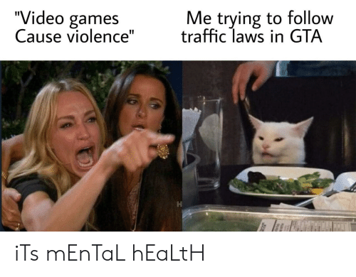 """Traffic, Video Games, and Games: """"Video games  Cause violence""""  Me trying to follow  traffic laws in GTA iTs mEnTaL hEaLtH"""