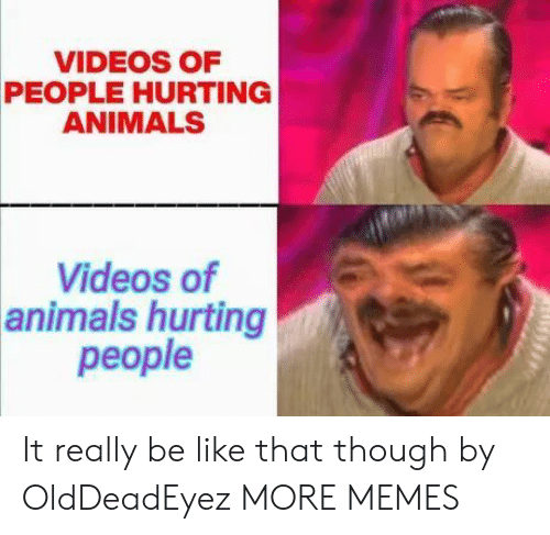 Animals, Be Like, and Dank: VIDEOS OF  PEOPLE HURTING  ANIMALS  Videos of  animals hurting  people It really be like that though by OldDeadEyez MORE MEMES