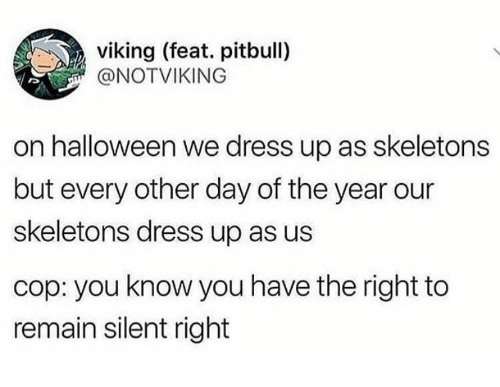 Halloween, Pitbull, and Dress: viking (feat. pitbull)  @NOTVIKING  on halloween we dress up as skeletons  but every other day of the year our  skeletons dress up as us  cop: you know you have the right to  remain silent right