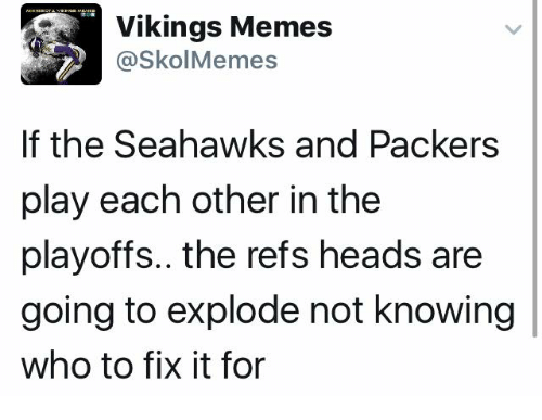 The Ref: Vikings Memes  @Skol Memes  If the Seahawks and Packers  play each other in the  playoffs.. the refs heads are  going to explode not knowing  who to fix it for