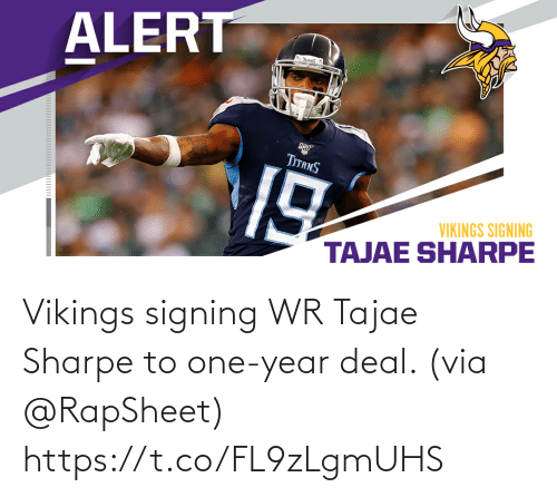 Signing: Vikings signing WR Tajae Sharpe to one-year deal. (via @RapSheet) https://t.co/FL9zLgmUHS