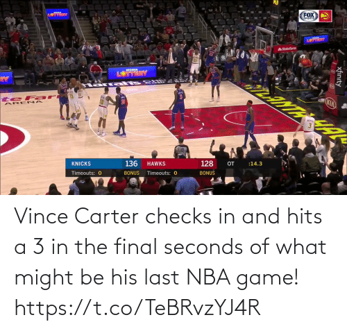 NBA: Vince Carter checks in and hits a 3 in the final seconds of what might be his last NBA game!   https://t.co/TeBRvzYJ4R