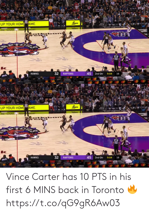 Toronto: Vince Carter has 10 PTS in his first 6 MINS back in Toronto 🔥  https://t.co/qG9gR6Aw03
