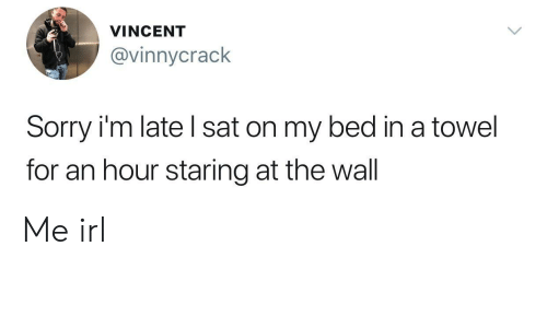 Sorry, Irl, and Me IRL: VINCENT  @vinnycrack  Sorry i'm late l sat on my bed in a towel  for an hour staring at the wall Me irl