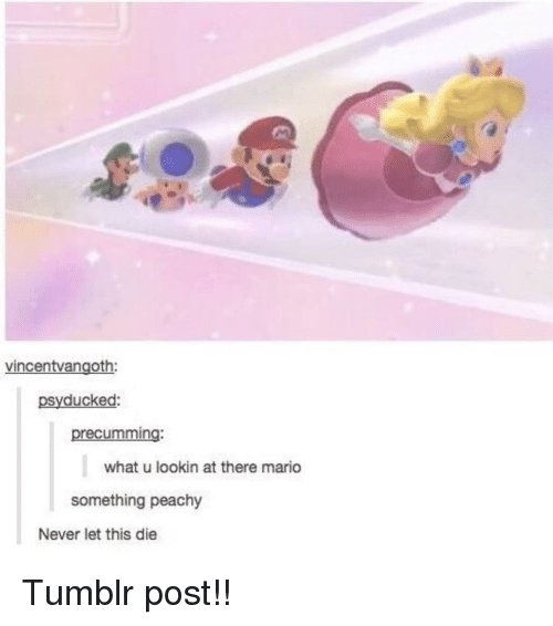 tumblr post: vincentvangoth:  psyducked:  precumming:  what u lookin at there mario  something peachy  Never let this die Tumblr post!!