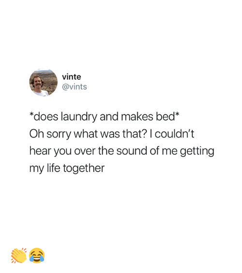 """Laundry, Life, and Sorry: vinte  @vints  """"does laundry and makes bed*  Oh sorry what was that? I couldn't  hear you over the sound of me getting  my life together 👏😂"""