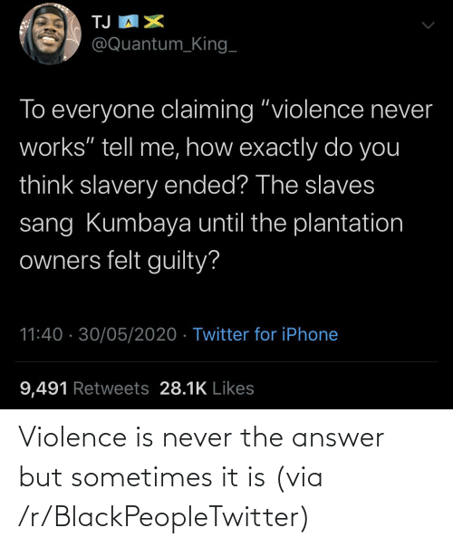 It Is: Violence is never the answer but sometimes it is (via /r/BlackPeopleTwitter)