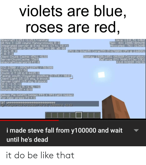 8 0: violets are blue,  roses are red,  Minecraft 1.15.1 (1.15.1/vanilla)  60 fps T: 120 vsync fancy-clouds B: 2  Integrated server @ 8 ms ticks, 17 tx, 18 rx  C: 0/67600 (s) D: 32, pC: 000, pU: 00, aB: 08  E: 0/1, B 0  P: 0. T: 1  Client Chunk Cache: 4761, 4132  ServerChunkCache: 7569]  minecraft:overworld FC: 0  Java: 1.8.0_51 64bit  Mem: 43% 1800/4096MB  Allocated: 76% 3136MB  CPU: 8x Intel(R) CoreCTM  i7-6700HQ CPU @ 2.60GHZ  Display: 1920x1051 (NVIDIA Corporation)  GeForce GTX 960M/PCIE/SSE2  4.6.0 NVIDIA 398.36  XYZ: 2.500/ 99767.23971/58.500  Block: 2 99767 58  Chunk: 2 7 10 in 0 6235 3  Facing: south (Towards positive 2) (7.4/90.0)  Client Light: 15 (15 sky, & block)  Server Light: (15 sky, 0 block)  CH S:-1 M: -1  SH S: -1 0: -1 M: -1 ML: -1  Sounds: 0/247 + 0/8  Debug: Pie [shift): hidden  For help: press F3 + 0Q  FPS + TPS Calt): hidden  Ce] weeeeeeeeeeeeeeeeeeeeeeeeee  Co Teleported Mrbomb27 to 25, 199999.9, 58.51  i made steve fall from y100000 and wait  until he's dead it do be like that