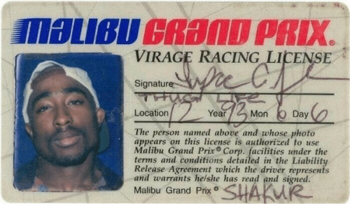malibu: VIRAGE RACING LICENSE  Signature  Location  Year  Mon Day  The person named above and whose photo  appears on this license is authorized to use  Malibu Grand Prix Corp. facilities under the  terms and conditions detailed in the Liability  Release Agreement which the driver represents  and warrants helshe has read and signed.  Malibu Grand Prx SHAKW