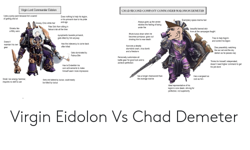 Beautiful, Emo, and Energy: Virain Lord Commander Eidolon  CHAD SECOND COMPANY COMMANDER SOLOMON DEMETER  Uses a jump pack because he's scared  of getting shot at  Does nothing to help his legion,  or his primarch due to his pride  and ego  Exemplary space marine hair  Always goes up the center  relishes the feeling of being  under fire  Greasy, Emo white hair  Shrieks like  a filthy xeno  Pale Skin from sitting in  fabius's lab all the time  beautiful tanned skin  from all the campaigns fought  sycophantic towards primarch  gets killed by him anyway  Shuts lucius down when he  becomes pompous, goes out  choking him to near death  Tries to help fulgrim  and correct his legion  Doesn't  maintain his own  gear  Has the indecency to come back  after killed  Survives a deadly  stormbird crash, virus bomb  and a firestorm  Dies peacefully, watching  the sun set and the sky  darken as he passes way  Gets dominated by  Fabius Bile  Personally customizes all  battle gear for good luck and to  achieve perfection  Thinks for himself, independant  doesn't need higher command to get  his job done  Has to Embellish his  own achivements to make  himself seem more impressive  has a longer chainsword than  the average marine  Has a sergeant as  cool as hinm  Small, low energy hammer,  requires no skill to use  Gets shit talked by lucius, could easily  be killed by lucius  Ideal representative of his  legion's core ideals, striving for  perfection, not superiority Virgin Eidolon Vs Chad Demeter