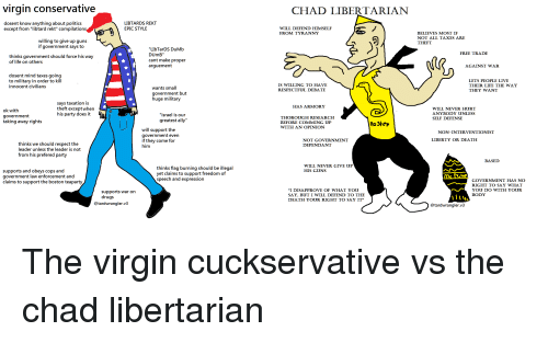 "Drugs, Dumb, and Guns: virgin conservative  CHAD LIBERTARIAN  dosent know anything about politics  except from ""libtard rekt"" compilations  LIBTARDS REKT  EPIC STYLE  WILL DEFEND HIMSELF  FROM TYRANNY  BELIEVES MOST IF  NOT ALL TAXES ARE  THEFT  willing to give up guns  if government says to  ""LIbTarDS DuMb  DUmB""  cant make proper  arguement  FREE TRADE  thinks government should force his way  of life on others  AGAINST WAR  dosent mind taxes going  to military in order to kill  innocent civilians  LETS PEOPLE LIVE  THEIR LIFE THE WAY  THEY WANT  IS WILLING TO HAVE  RESPECTFUL DEBATE  wants small  government but  huge military  says taxation is  theft exceptwhen  his party does it  HAS ARMORY  ok with  government  taking away rights  ""israel is our  greatest ally""  WILL NEVER HURT  ANYBODY UNLESS  SELF DEFENSE  THOROUGH RESEARCH  BEFORE COMMING UP  WITH AN OPINION  loStep  will support the  government even  if they come for  him  NON-INTERVENTIONIST  LIBERTY OR DEATH  NOT GOVERNMENT  DEPENDANT  thinks we should respect the  leader unless the leader is not  from his prefered party  BASED  WILL NEVER GIVE UP  HIS GUNS  supports and obeys cops and  government law enforcement and  claims to support the boston teaparty  thinks flag burning should be illegal  yet claims to support freedom of  speech and expression  GOVERNMENT HAS NO  RIGHT TO SAY WHAT  YOU DO WTH YOUR  BODY  supports war on  drugs  ""I DISAPPROVE OF WHAT YOU  SAY. BUT I WILL DEFEND TO THE  DEATH YOUR RIGHT TO SAY IT  @tardwrangler.v3  @tardwrangler.v3"