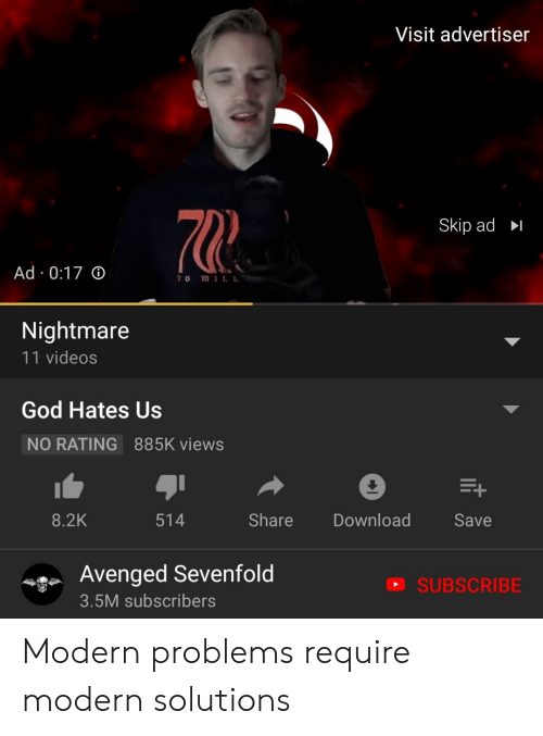God, Videos, and Avenged Sevenfold: Visit advertiser  70  Skip ad  Ad 0:17 o  70 MILL  Nightmare  11 videos  God Hates Us  NO RATING  885K views  8.2K  514  Share Download  Save  Avenged Sevenfold  a SUBSCRIBE  3.5M subscribers Modern problems require modern solutions