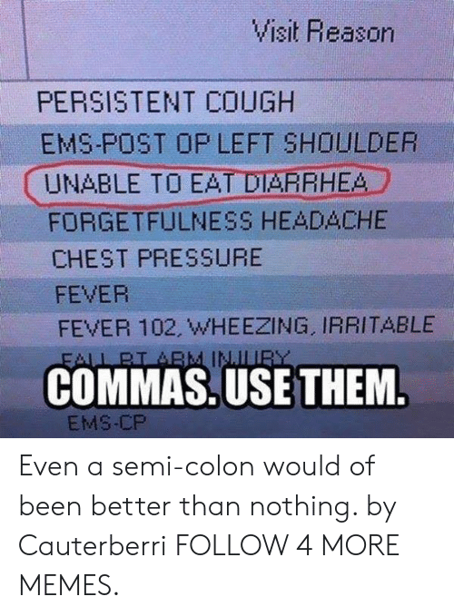 Forgetfulness: Visit Reason  PERSISTENT COUGH  EMS-POST OP LEFT SHOULDER  UNABLE TO EAT DIARRHEA  FORGETFULNESS HEADACHE  CHEST PRESSURE  FEVER  FEVER 102, WHEEZING, IRRITABLE  FALL BI ABM INJLUR  COMMAS.USE THEM.  EMS-CP Even a semi-colon would of been better than nothing. by Cauterberri FOLLOW 4 MORE MEMES.