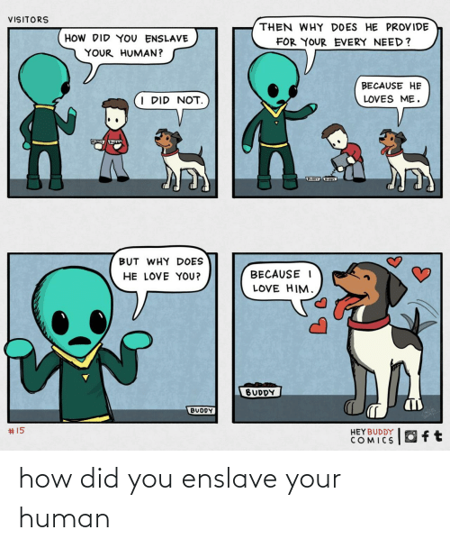 loves: VISITORS  THEN WHY DOES HE PROVIDE  HOW DID YOU ENSLAVE  FOR YOUR EVERY NEED?  YOUR HUMAN?  BECAUSE HE  I DID NOT.  LOVES ME.  BUODY UOY  BUT WHY DOES  HE LOVE YOU?  BECAUSE I  LOVE HIM.  BUDDY  BUDDY  2414  #15  HEYBUDDY  COMICS how did you enslave your human