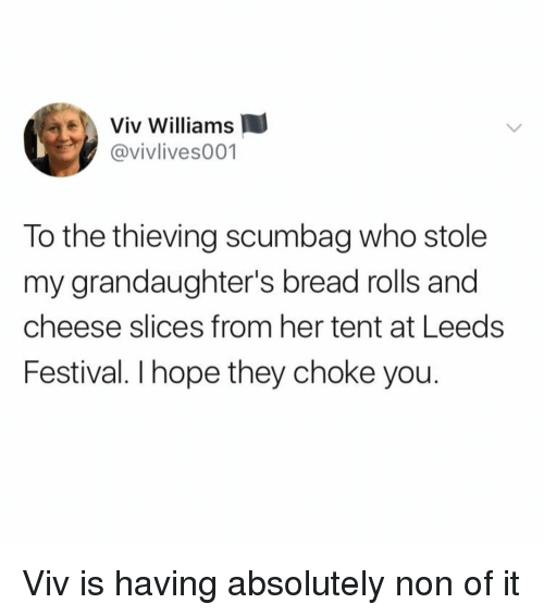 Memes, Festival, and Hope: Viv Williams  @vivlives001  To the thieving scumbag who stole  my grandaughter's bread rolls and  cheese slices from her tent at Leeds  Festival. I hope they choke you. Viv is having absolutely non of it