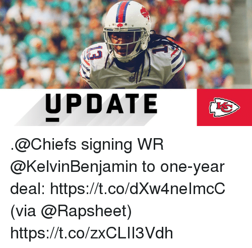 Memes, Chiefs, and 🤖: VO  UPDATE .@Chiefs signing WR @KelvinBenjamin to one-year deal: https://t.co/dXw4neImcC (via @Rapsheet) https://t.co/zxCLII3Vdh