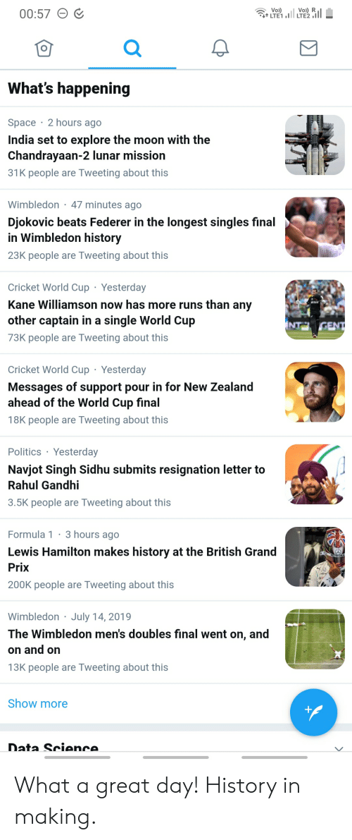 cricket world cup: Voi)  TE1,I  Vo) R  LTE2  00:57  What's happening  Space 2 hours ago  India set to explore the moon with the  Chandrayaan-2 lunar mission  31K people  Tweeting about this  are  Wimbledon  47 minutes ago  Djokovic beats Federer in the longest singles final  in Wimbledon history  23K people are Tweeting about this  Cricket World Cup  Yesterday  Kane Williamson now has more runs than any  other captain in a single World Cup  NT GENT  73K people are Tweeting about this  Cricket World Cup Yesterday  Messages of support pour in for New Zealand  ahead of the World Cup final  18K people are Tweeting about this  Politics Yesterday  Navjot Singh Sidhu submits resignation letter to  Rahul Gandhi  3.5K people are Tweeting about this  3 hours ago  Formula 1  Lewis Hamilton makes history at the British Grand  PETRONA  Prix  200K people are Tweeting about this  July 14, 2019  Wimbledon  The Wimbledon men's doubless final went on, and  on and on  13K people are Tweeting about this  Show more  f  Data Science. What a great day! History in making.