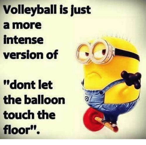 """Volleyball: Volleyball is just  a more  intense  version of  """"dont let  the balloon  touch the  floor"""""""