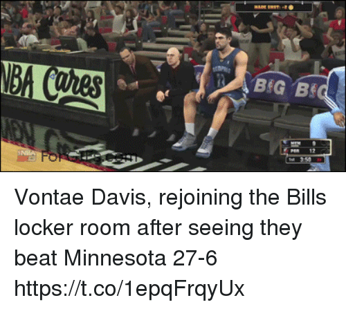 Sports, Minnesota, and Bills: Vontae Davis, rejoining the Bills locker room after seeing they beat Minnesota 27-6 https://t.co/1epqFrqyUx