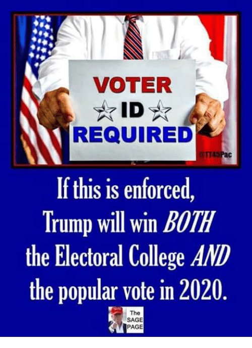 electoral college: VOTER  REQUIRED  If this is enforced  Trump will win BOTH  the Electoral College AND  the popular vote in 2020  The  SAGE  PAGE