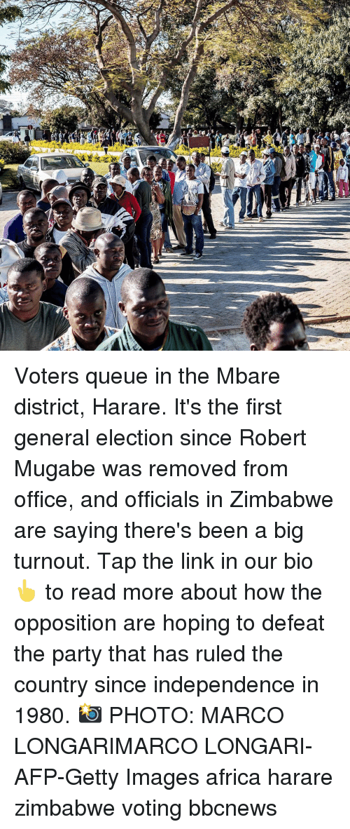 Africa, Memes, and Party: Voters queue in the Mbare district, Harare. It's the first general election since Robert Mugabe was removed from office, and officials in Zimbabwe are saying there's been a big turnout. Tap the link in our bio 👆 to read more about how the opposition are hoping to defeat the party that has ruled the country since independence in 1980. 📸 PHOTO: MARCO LONGARIMARCO LONGARI-AFP-Getty Images africa harare zimbabwe voting bbcnews
