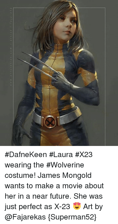 À   À  : w a r t s t a t o n c o m art s t a a  e a #DafneKeen #Laura #X23 wearing the #Wolverine costume!   James Mongold wants to make a movie about her in a near future. She was just perfect as X-23 😍  Art by @Fajarekas  {Superman52}