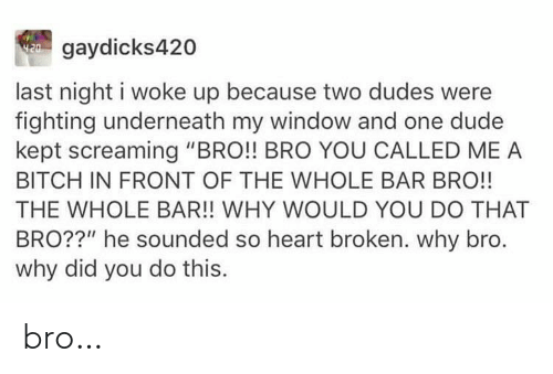 "last night: W gaydicks420  last night i woke up because two dudes were  fighting underneath my window and one dude  kept screaming ""BRO!! BRO YOU CALLED ME A  BITCH IN FRONT OF THE WHOLE BAR BRO!!  THE WHOLE BAR!! WHY WOULD YOU DO THAT  BRO??"" he sounded so heart broken. why bro.  why did you do this. bro…"