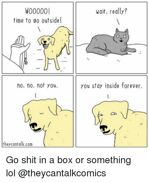 Funny, Lol, and Shit: W00000!  time to go outside!  wait, really?  sa  no, no. not you  you stay inside forever  theycantalk.com Go shit in a box or something lol @theycantalkcomics