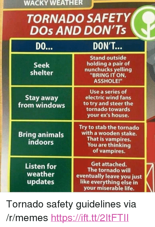 "Ex's, Life, and Memes: WACKY WEATHER  TORNADO SAFETY  DOs AND DON'Ts  DON'T..  Stand outside  holding a pair of  nunchucks yelling  ""BRING IT ON,  ASSHOLE!""  Seek  shelter  Use a series of  electric wind fans  Stay away  from windowsto try and steer the  tornado towards  your ex's house.  Try to stab the tornado  Bring animalswith a wooden stake.  That is vampires.  You are thinking  of vampires  ndoors  Listen for  weather  updates  Get attached.  The tornado will  eventually leave you just  like everything else in  your miserable life. <p>Tornado safety guidelines via /r/memes <a href=""https://ift.tt/2ItFTII"">https://ift.tt/2ItFTII</a></p>"