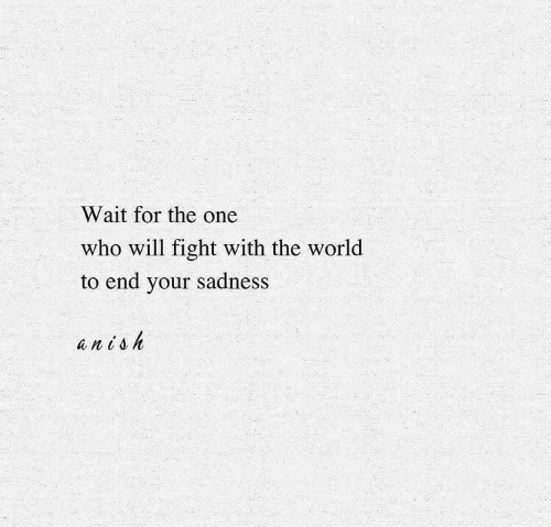 Will Fight: Wait for the one  who will fight with the world  to end your sadness  anish