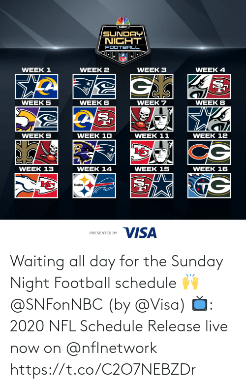 visa: Waiting all day for the Sunday Night Football schedule 🙌 @SNFonNBC  (by @Visa)  📺: 2020 NFL Schedule Release live now on @nflnetwork https://t.co/C2O7NEBZDr