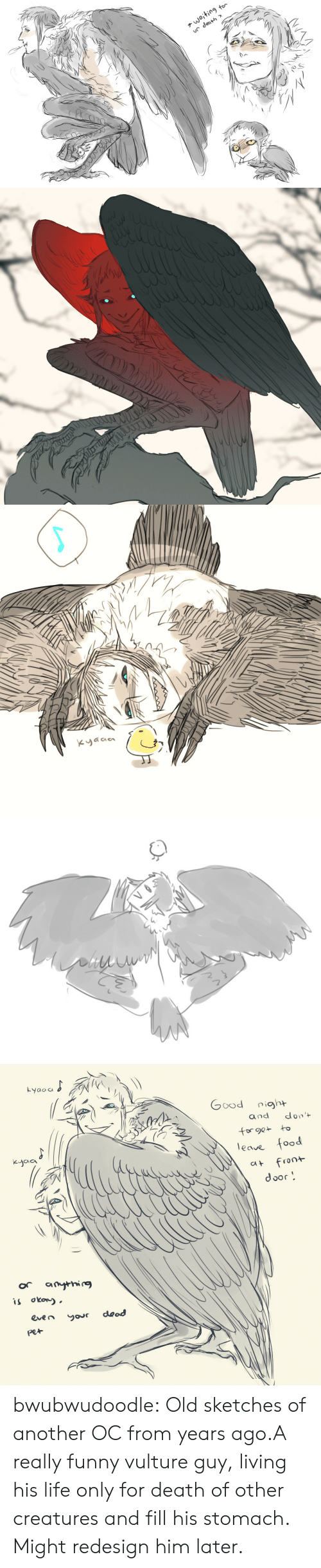 Food, Funny, and Life: waiting  for  ur death *  ale   KyGaa   Lyaoa  tyolu poo  don't  and  for ge to  leaue food  Kyaa  front  CAt  door  or  anythig  is okow  dead  even  your  pet bwubwudoodle:  Old sketches of another OC from years ago.A really funny vulture guy, living his life only for death of other creatures and fill his stomach. Might redesign him later.
